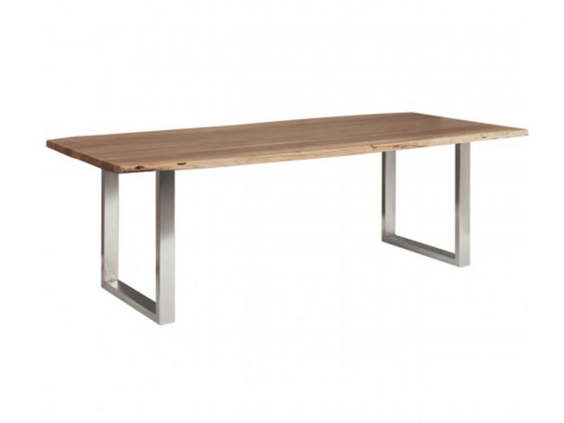 Bobochic table 200 cm awa bois acacia massif et pieds carrés métal chromé