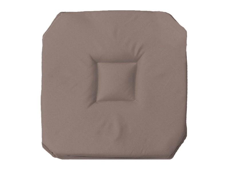 Coussin galette de chaise 4 rabats 36 x 36 cm taupe