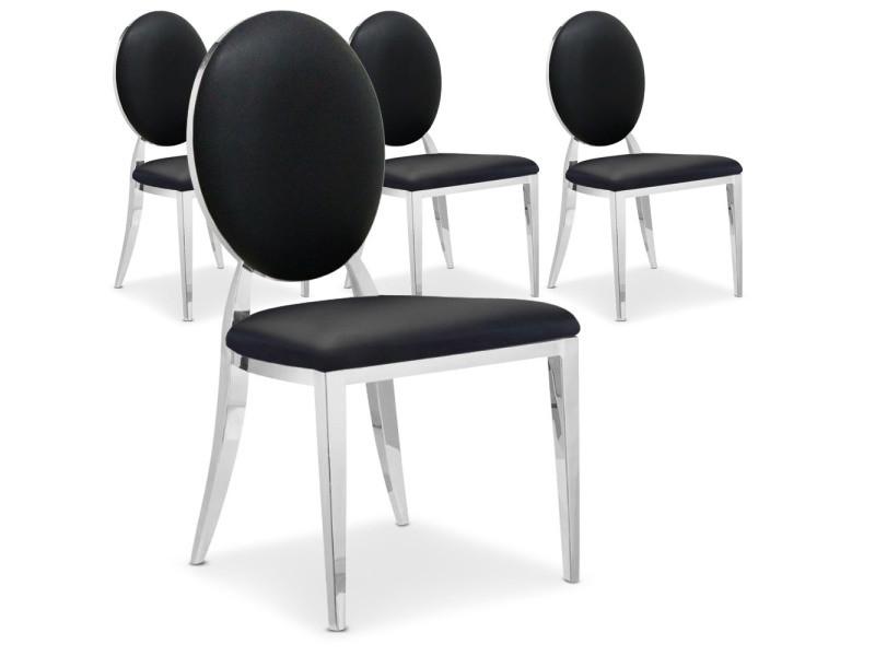 Lot de 4 chaises médaillon sofia noir - Vente de COTECOSY - Conforama