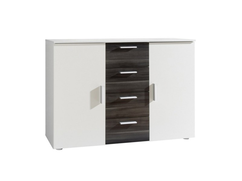 Commode design 2 portes et 4 tiroirs 130cm. Collection irina coloris blanc et gris anthracite.