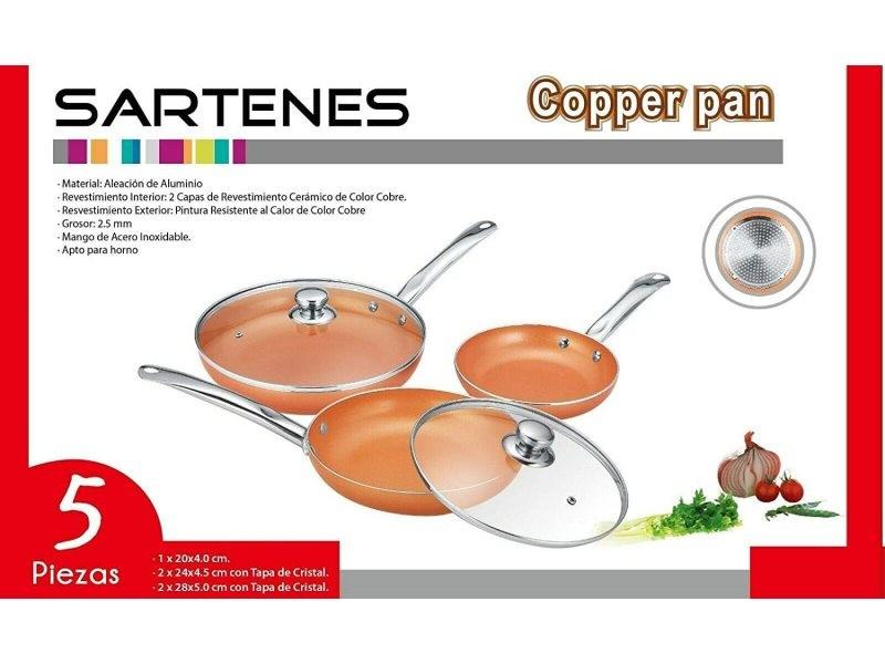Lot de 3 poêles revêtement céramique avec couvercle pour tous type de plaques de cuisson, diamètre 28 - 24 -20 cms Wderf0525grey618