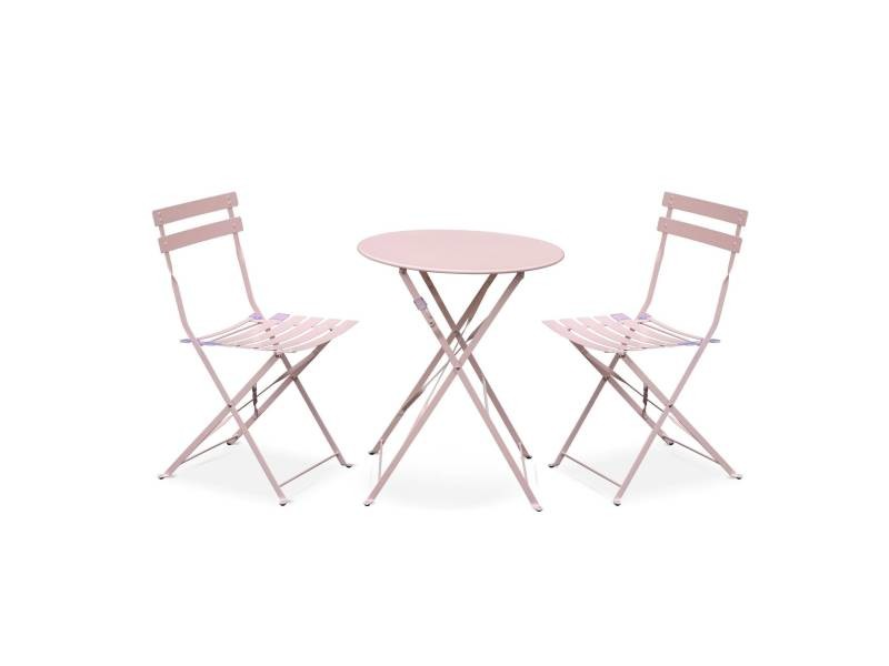 Salon de jardin bistrot pliable emilia rond rose pale, table ⌀60cm ...