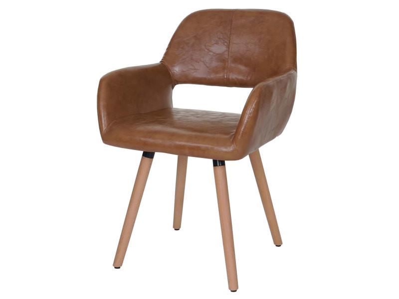 Chaise de salle à manger altena ii, fauteuil, design rétro des années 50 ~ similicuir, aspect daim