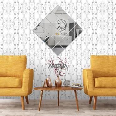 ANTEVIA/® Adh/ésif effet miroir Stickers muraux Autocollants D/écoratifs Carr/és 90cm Lot de 24