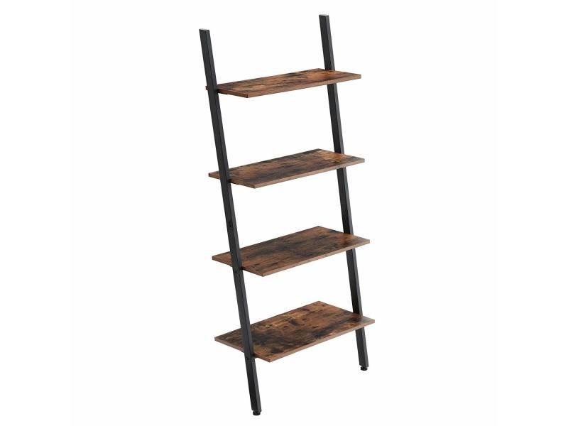 Étagère échelle de style industriel, bibliothèque, meuble de rangement à 4 niveaux, étagère inclinée,brun noir rustique lls43bx vasagle Armature en fer, Stable