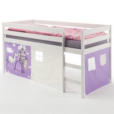 Lit surélevé lit enfant erik avec rideaux princesse pin massif ...