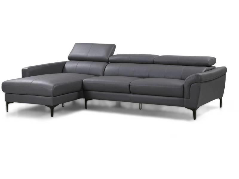Canapé d'angle fixe en cuir reconstitué \