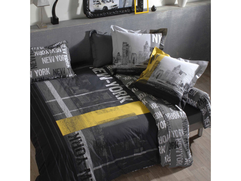 housse de couette 200x200 cm 100 coton new york vente de plaid et couverture conforama. Black Bedroom Furniture Sets. Home Design Ideas