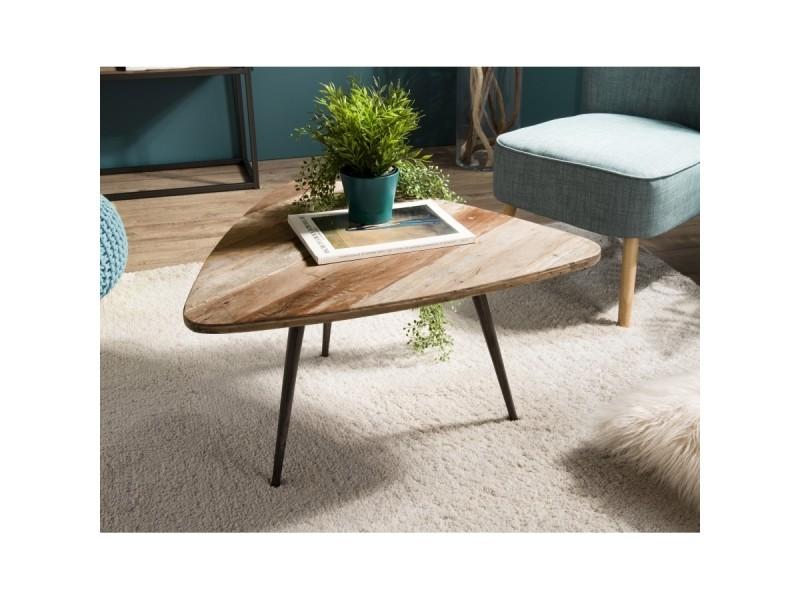 Table basse bois ovoide teck recyclé et métal