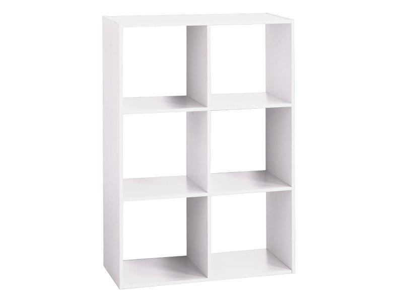 Étagère bois 6 cases blanc