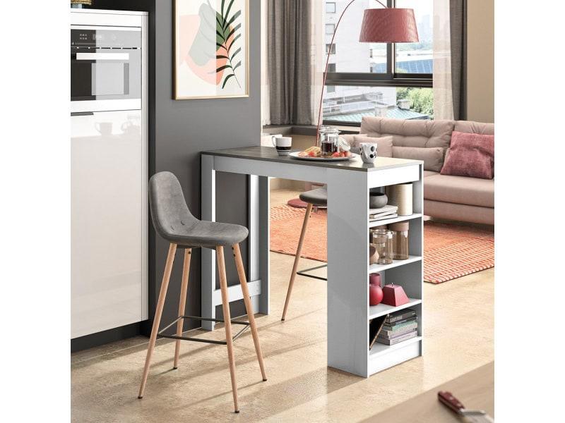 A-cocoon table et chaises - blanc et béton - gris anthracite