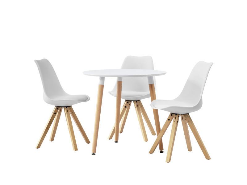 Table ronde avec le design rétro blanc- blanc