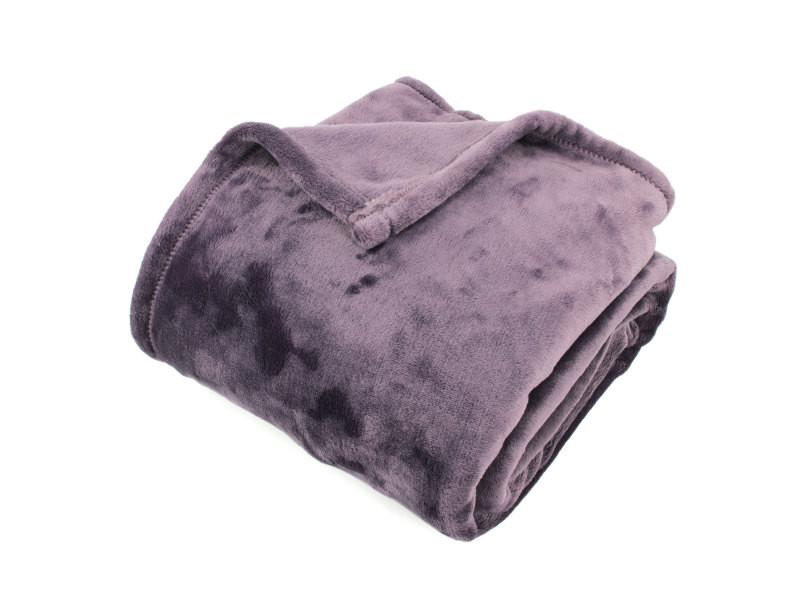 Plaid polaire 130x150 cm microvelours 100% polyester 320 g/m2 velvet violet prune