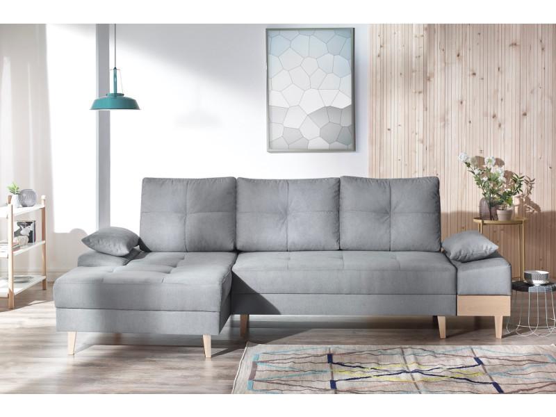 Canape d'angle convertible sven i gauche (pieds et accoudoir en bois) enjoy gris clair 5906395169733