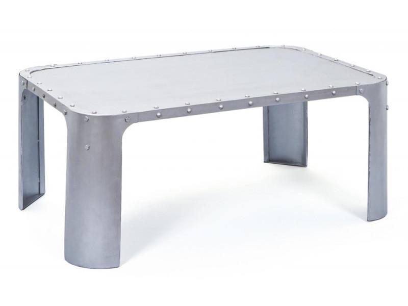 Table basse coloris argent en métal, 110 x 70 x 45 cm -pegane-