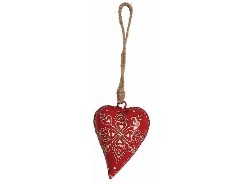Coeur rouge en métal et corde à suspendre 11 cm
