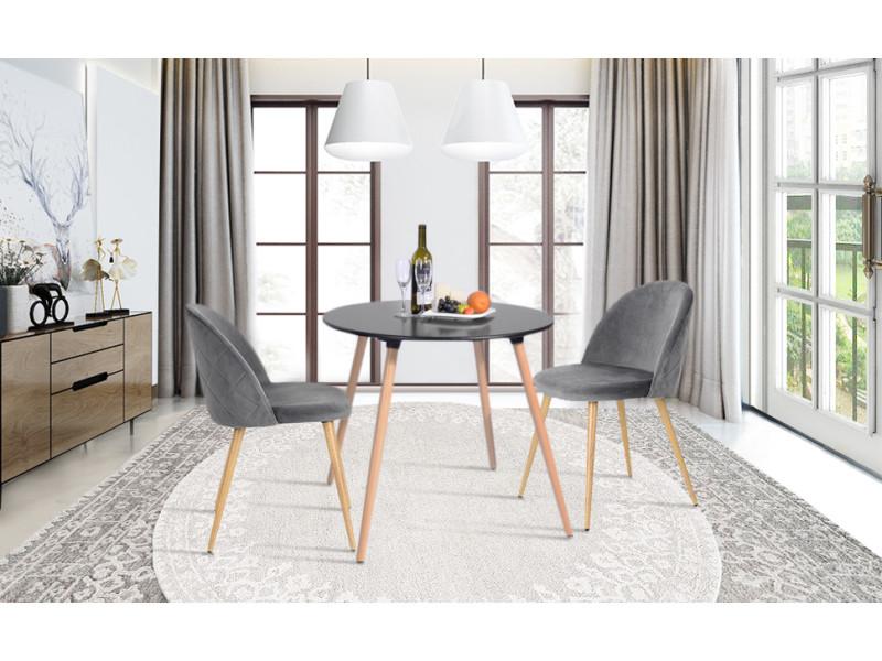 Ensemble table à manger ronde bois noir et 2 chaises scandinave velours gris