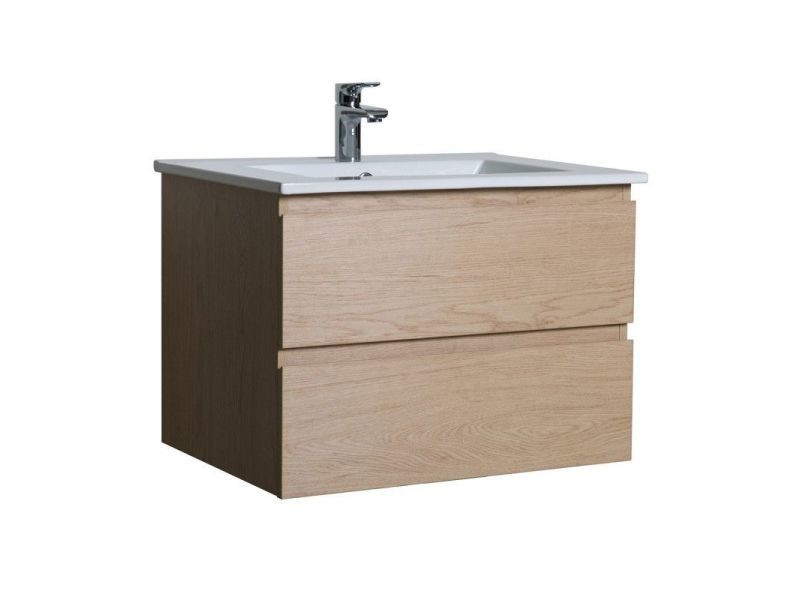 Meuble salle de bain 60 cm à suspendre chêne sorrento ...