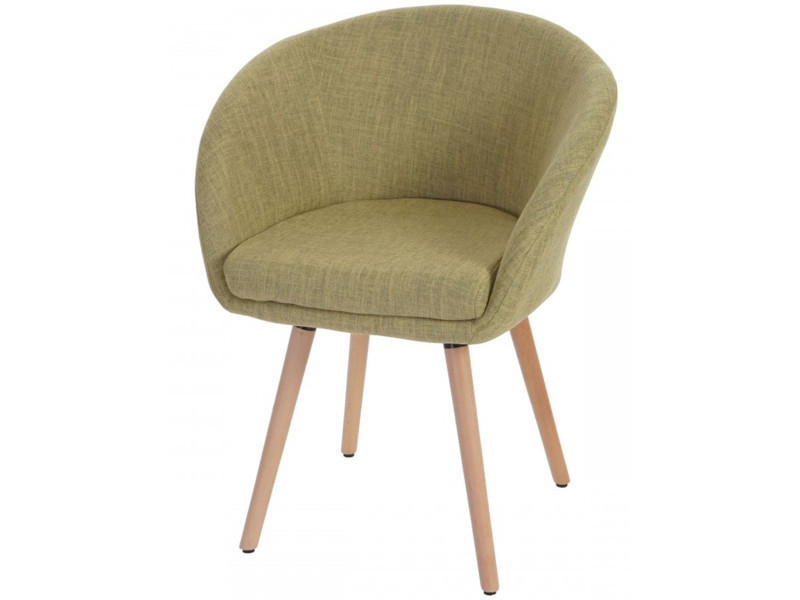 Chaises de salle à manger en textile coloris vert clair, h 80 x 61 x p 56 cm -pegane-