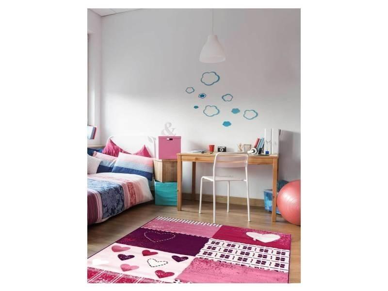 Tapis chambre bambino coeur violet 80 x 150 cm tapis pour enfants ...