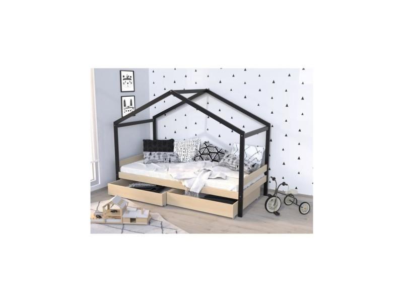 Lit cabane enfant avec tiroirs - bois pin massif - naturel et noir - sommier inclus - 90 x 190 cm - etoile ETOILE1330116