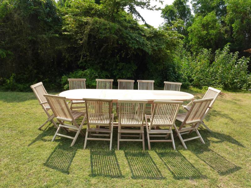Ensemble salon de jardin en teck henua 10 chaises 2 ...