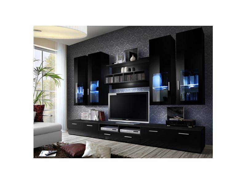 Ensemble meuble tv mural - lyra night - 300 cm x 190 cm x 45 cm - noir