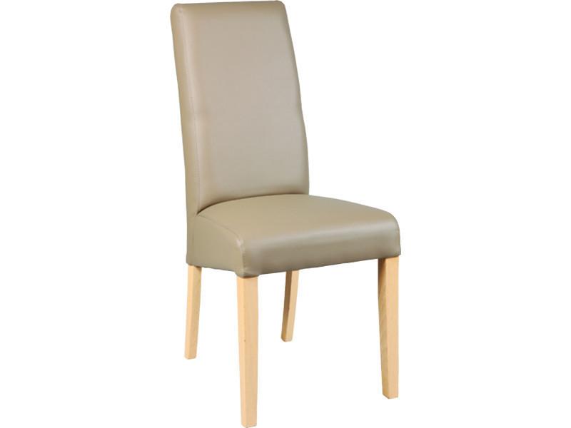 Lot de 2 chaises en hêtre et polyuréthane coloris taupe - dim : l 47 x p 52 x ht 97 x ht ass 48 cm - pegane -