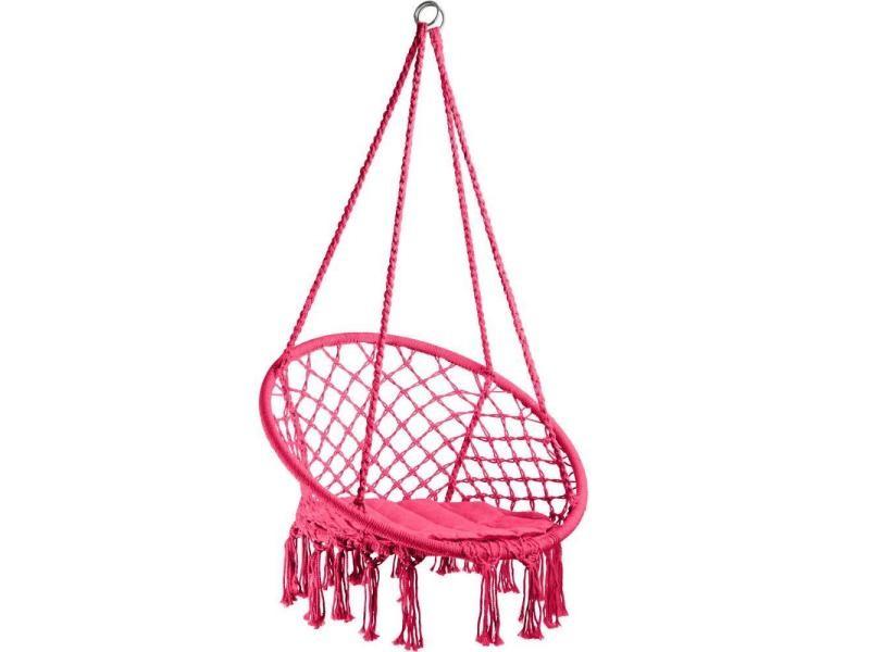 Fauteuil suspendu elisa hamac meuble jardin diamètre 80 cm rose helloshop26 2208171