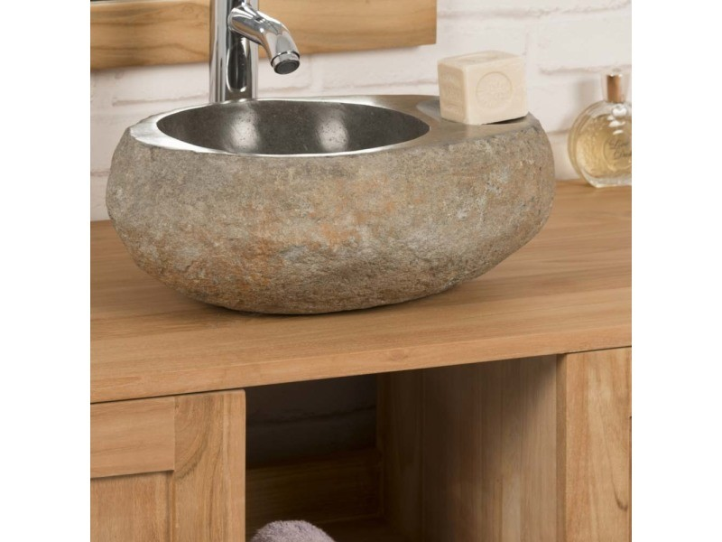 5e7778979685b8 Vasque à poser en galet de riviere 35 cm porte savon 32045 - Vente de Vasque  et lavabo - Conforama
