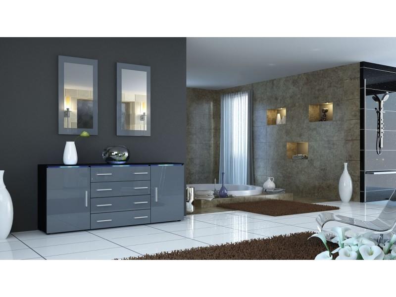 Buffet noir et gris façade laquée corps mat sans led design 166 cm