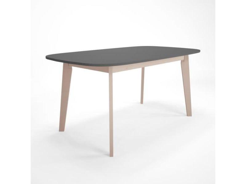 15ad5e4ae3f90d Table a manger seule naiss table manger extensible 6 a 10 personnes style  contemporain anthracite et placage bouleau verni naturel - l 160   200 x l  90cm ...