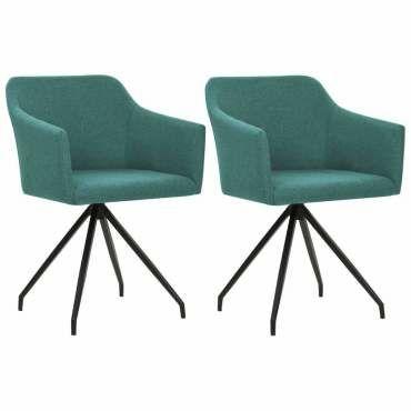 Lot de deux chaises pivotante de salle à manger vert tissu