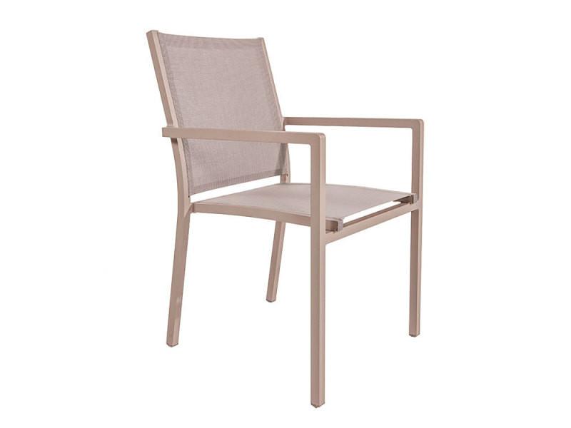 Chaise en alu champagne textilène taupe brian