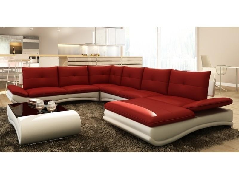 Canapé d'angle design panoramique rouge et blanc mexico-