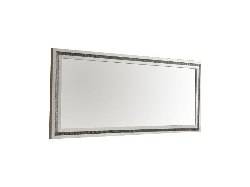 miroir 145 cm blanc laqu avec dcor strass vente de miroir mural conforama - Miroir Mural Blanc Simili Cuir Strass