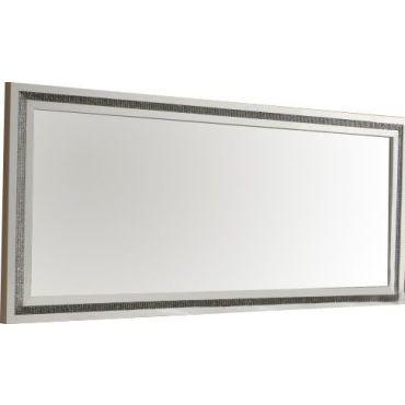 miroir 145 cm blanc laqu avec dcor strass - Miroir Mural Blanc Simili Cuir Strass
