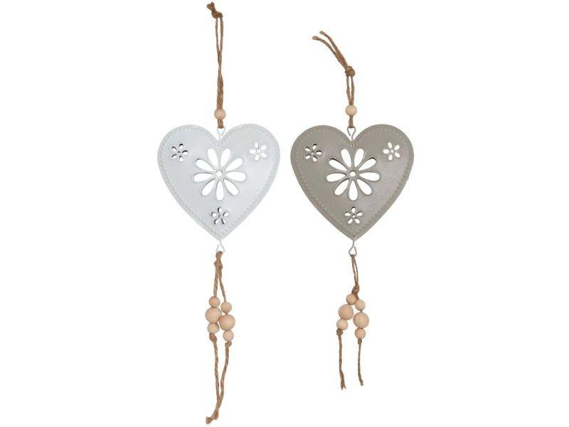 Coeurs à suspendre en métal 10 cm (lot de 2)