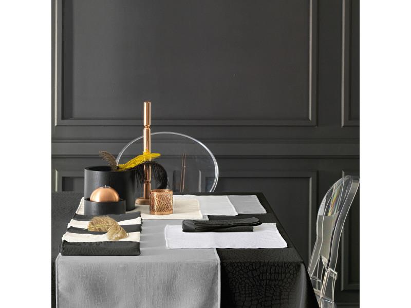 Nappe Carree 150x150 Cm Jacquard 100 Polyester Lounge Blanc