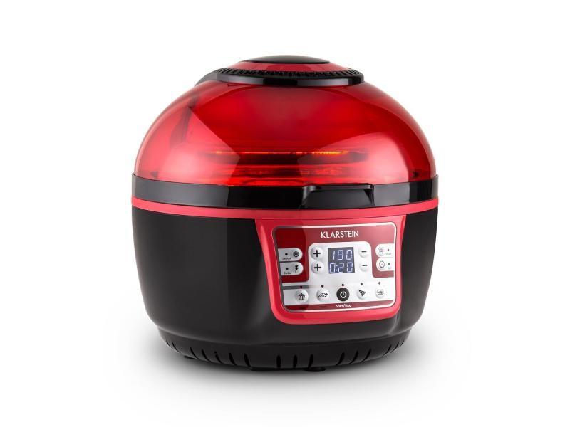 Klarstein vitair turbo friteuse à air chaud avec grill - chauffage infrarouge halogène 1400w - rouge & noir TK20-Vitair-2G-R