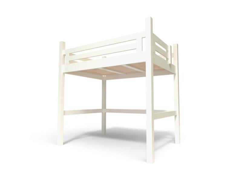 Lit mezzanine alpage bois + escalier cube hauteur réglable ...
