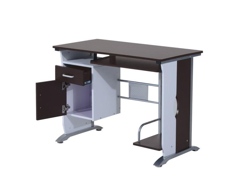 bureau informatique design 100l x 52l x 75h cm brun noir et blanc 19 vente de homcom conforama. Black Bedroom Furniture Sets. Home Design Ideas