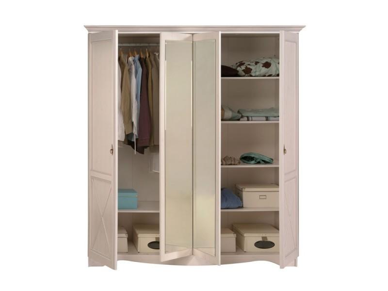 Armoire 4 portes pin blanc gentiane l 195 x l 67 x h - Conforama armoire 4 portes ...