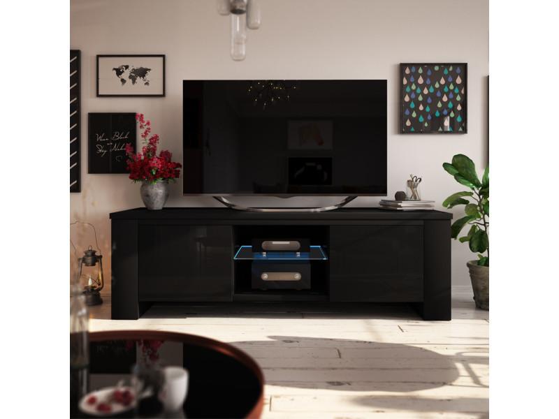Meuble Tv Jackson 130 Cm Noir Mat Noir Brillant Avec Led Selsey France Vente De Meuble Tv Conforama
