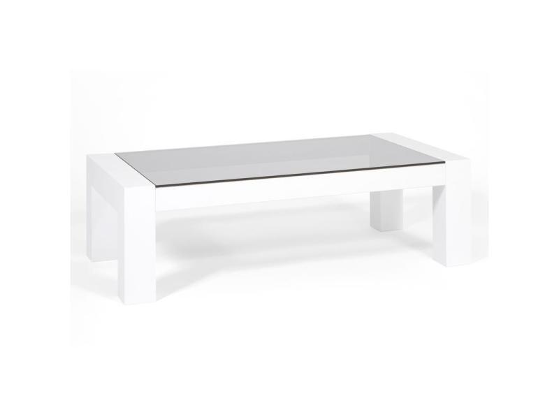 Mobili fiver, table basse, plateau en verre trempé, iacopo, blanc laqué brillant, made in italy