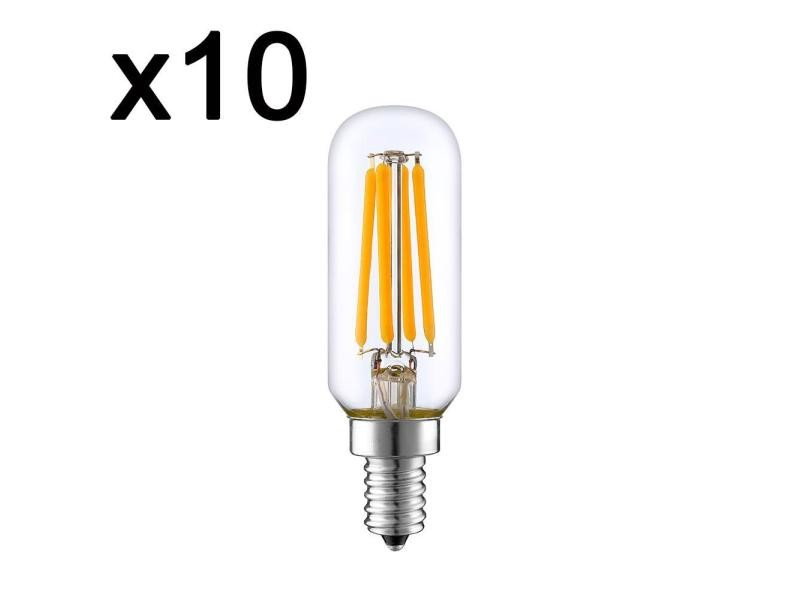 Lot de 10 ampoule filament led e27 blanc chaud pluton e14 t25 4w h9cm
