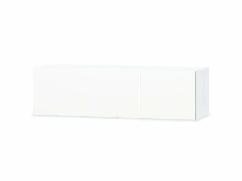 Meuble télé buffet tv télévision design pratique aggloméré 120 cm blanc brillant helloshop26 2502058
