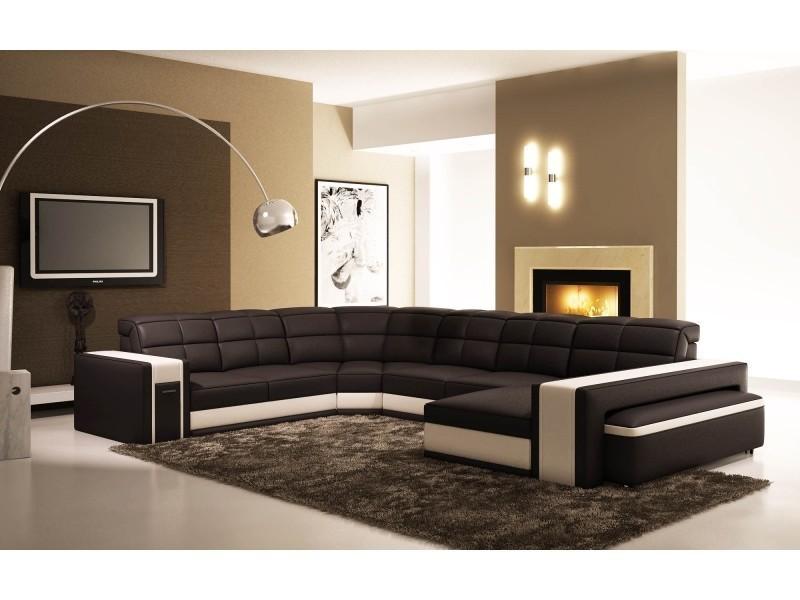 Canapé d'angle panoramique en cuir noir et blanc + pouf eva-