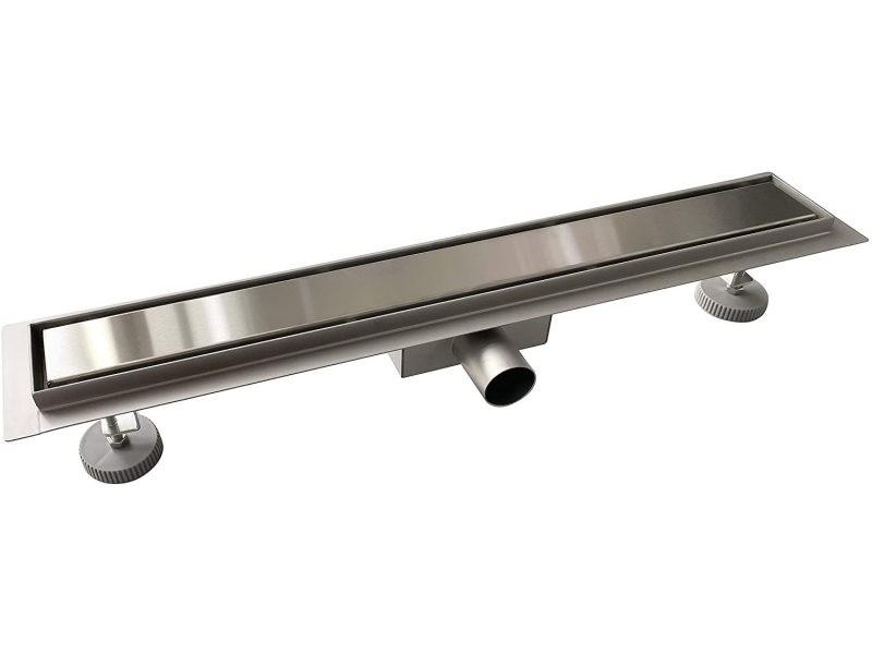 Aica caniveau de douche italienne 60 cm en acier inoxydable 2 en 1 à carreler