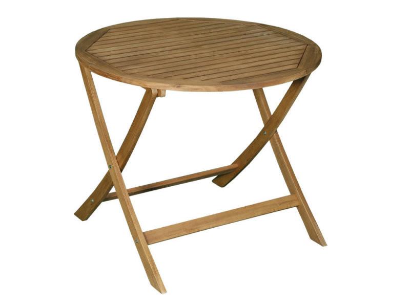 table de jardin ronde pliante 90cm en acacia laemis. Black Bedroom Furniture Sets. Home Design Ideas